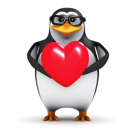 cartoon penguin: 3d render of a penguin holding a heart Stock Photo