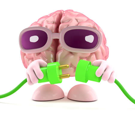 environmental analysis: 3d render of a brain character connecting two green power leads Stock Photo