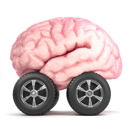 3d render of a brain on wheels