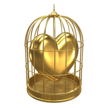 detained: 3d render of a birdcage containing a golden heart