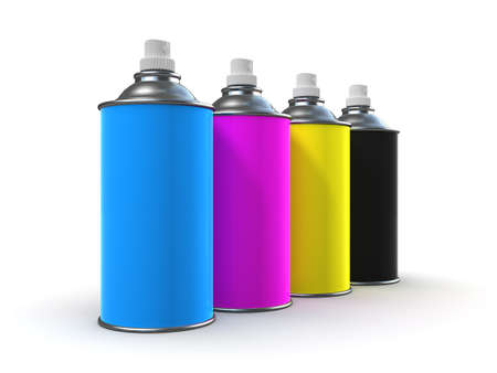 colourer: 3d render of spray paint cans in cyan, magenta, yellow and black