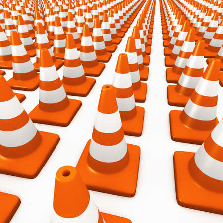 roadworks: 3d render of a field of many traffic cones Stock Photo