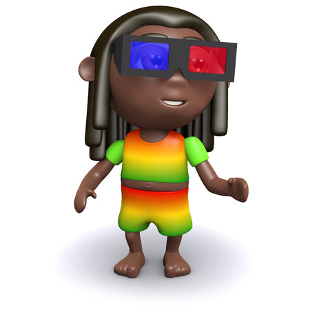 dreads: 3d render of a rastafarian wearing 3d glasses Stock Photo