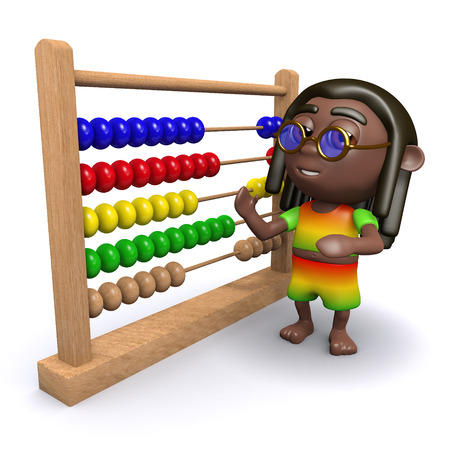 jamaican man: 3d render of a rastafarian with an abacus Stock Photo