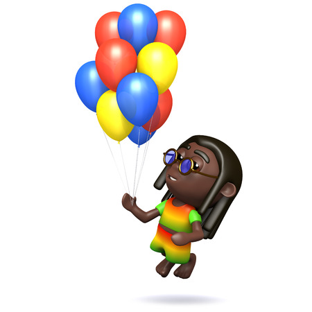 dreads: 3d render of a rastafarian with many colored balloons Stock Photo