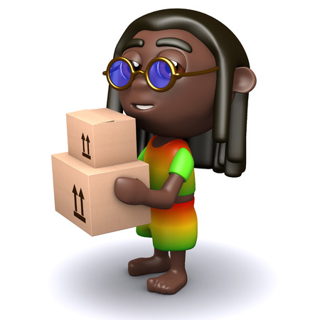 jah: 3d render of a rastafarian carrying some cardboard boxes