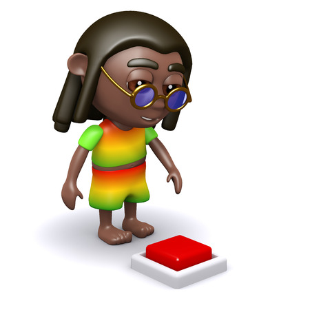 3d render of a rastafarian looking at a red button in the floor