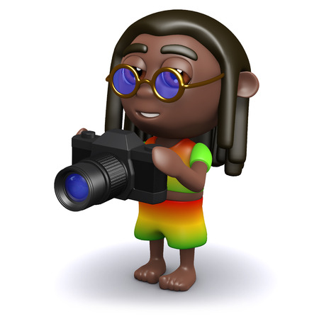 3d render of a rastafarian holding a camera Stock Photo