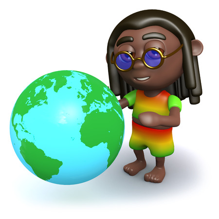dreads: 3d render of a rastafarian looking at a globe of the Earth Stock Photo