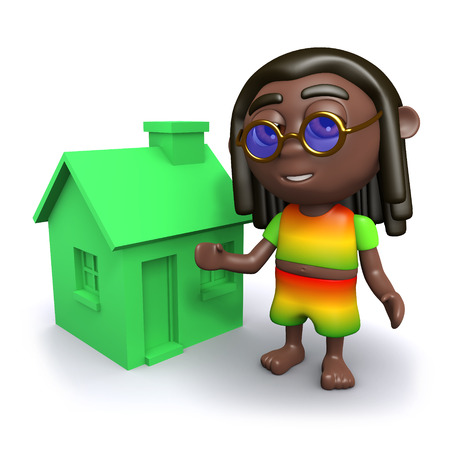 jah: 3d render of a rastafarian next to a small green house