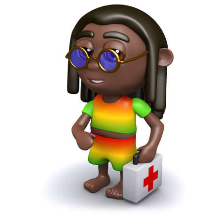 3d render of a rastafarian a first aid kit Stock Photo