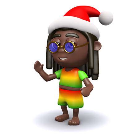 dreads: 3d render of a rastafarian wearing a Santa Claus hat Stock Photo