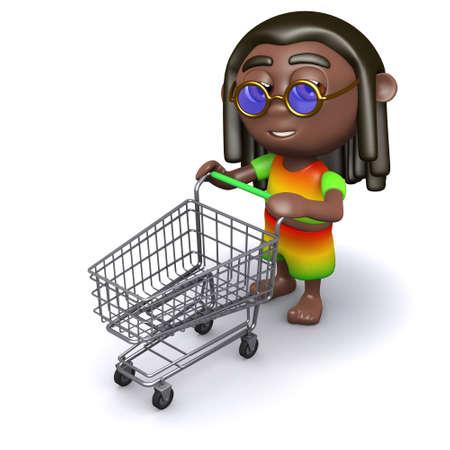 jah: 3d render of a rastafarian pushing an empty shopping trolley
