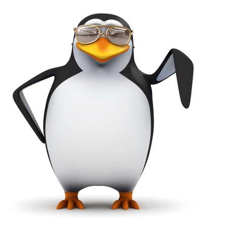 downwards: 3d render of a penguin pointing downwards