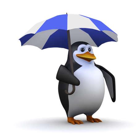 3d render of a penguin under an umbrella photo