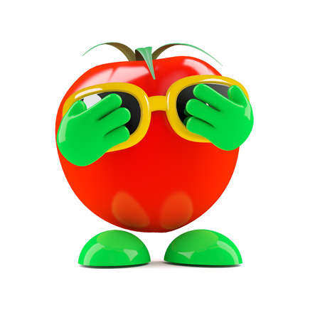 embarassed: 3d render of a tomato with his hands over his eyes
