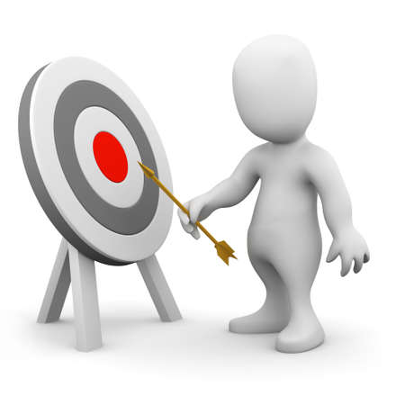 taget: 3d render of a little person pointing an arrow at a target Stock Photo