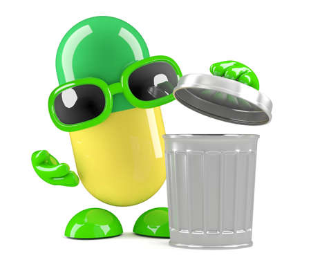 medical waste: 3d render of a pill character using a waste bin