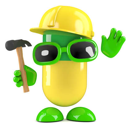 3d render of a pill character wearing a safety helmet and holding a hammer photo