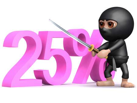 twenty five: 3d rinden de un ninja de pie con la espada desenvainada junto a la palabra del veinticinco por ciento