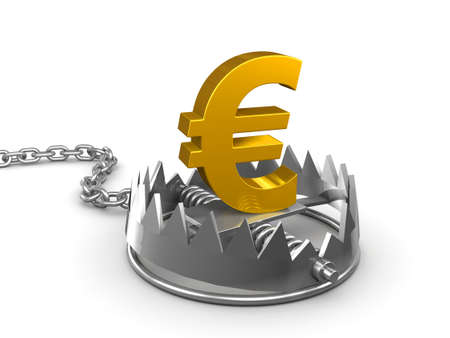 bear trap: 3d render of a bear trap with gold Euro symbol Stock Photo