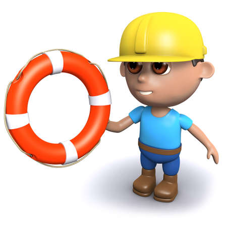 3d render of a builder holding a life ring photo