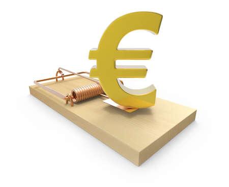 deceptive: 3d Gold Euro symbol on mousetrap