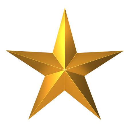 five pointed: 3d render of a five pointed gold star Stock Photo
