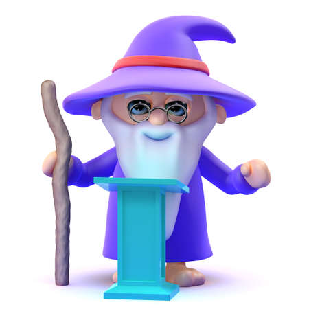 3d render of a wizard stood at a lectern
