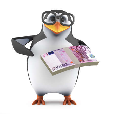 wad: 3d render of a penguin holding a wad of Euro bank notes