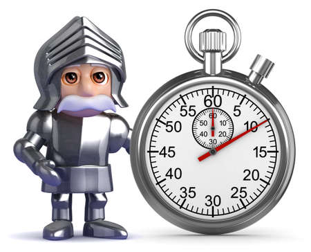 3d render of a knight in armour with a stopwatch