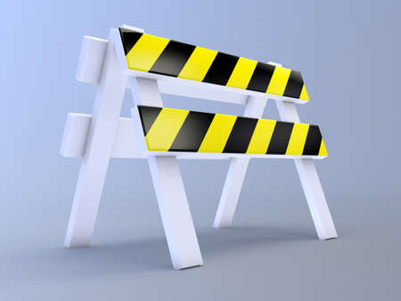 roadblock: 3d render of a roadblock on blue background Stock Photo
