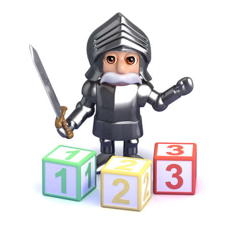 3d render of a knight in armour with number blocks