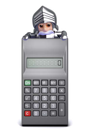 3d render of a knight appearing over a calculator