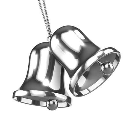 silver bells: 3d render of silver bells Stock Photo