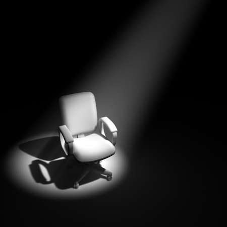interview: 3d render of an office chair in a spotlight Stock Photo