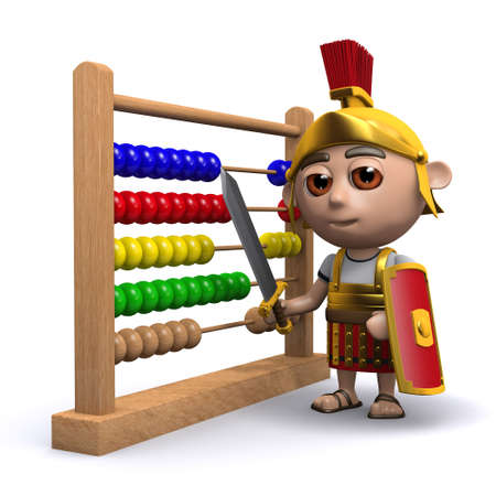 numeracy: 3d render of a Roman soldier with an abacus
