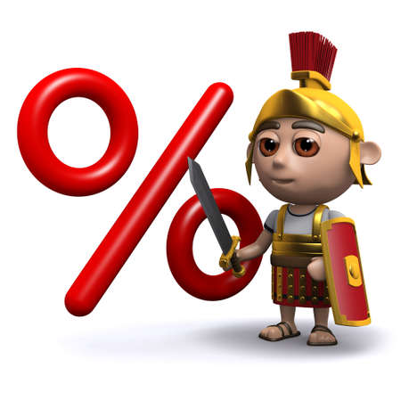 interest rate: 3d render of a Roman soldier next to an interest rate symbol