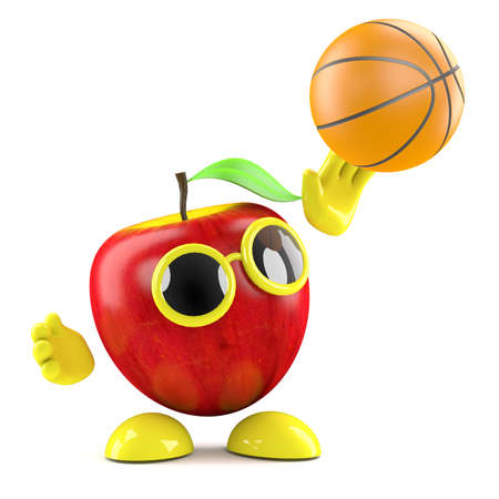 throwing: 3d render of an apple throwing a basketball