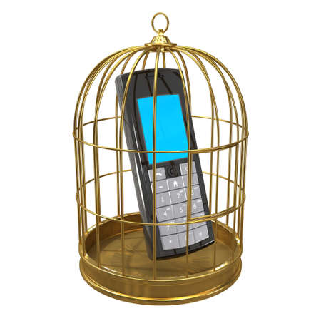 detained: 3d render of a mobile phone in a bird cage.