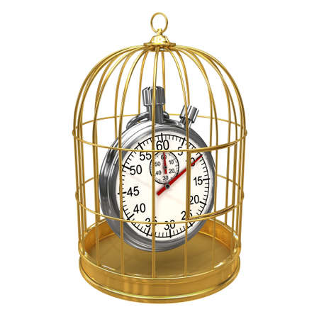 detained: 3d render of a stopwatch in a birdcage
