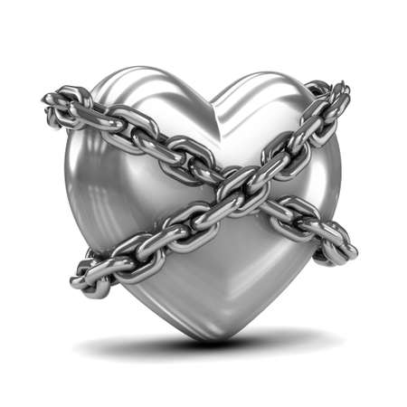 detained: 3d render of a silver heart bound by chains