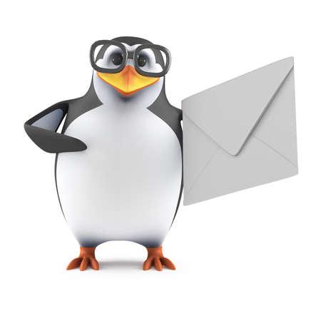 cartoon penguin: 3d render of a penguin holding an envelope.
