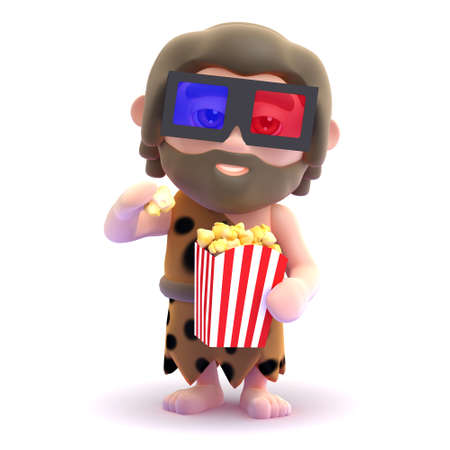 3d render of a caveman wearing 3d glasses and eating popcorn.
