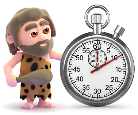 stoneage: 3d render of a caveman with a stopwatch.