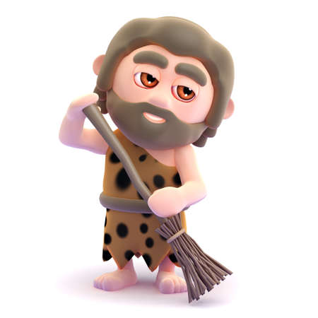 3d render of a caveman sweeping with a broom
