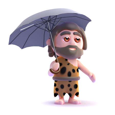3d render of a caveman under an umbrella.