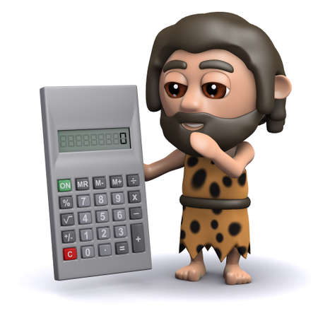 3d render of a caveman with a calculator.