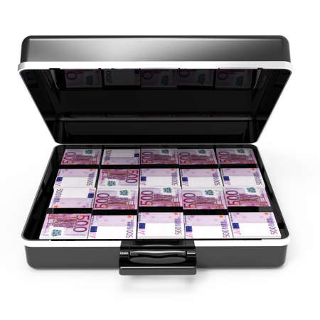 holdall: 3d render of a front view of an open briefcase full of bank notes