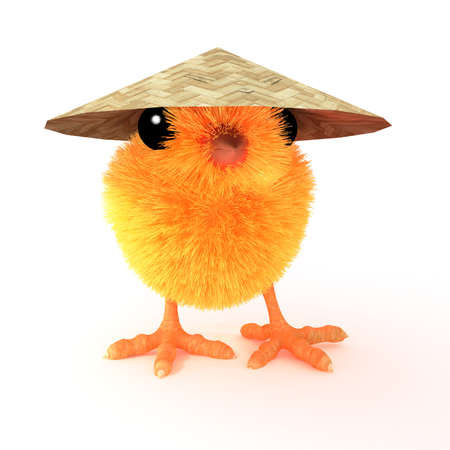 far eastern: 3d render of a chick wearing a traditional Far Eastern grass hat